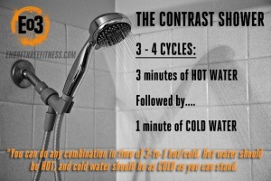 Contrast Showers can help reduce DOMS. Image from : http://www.endofthreefitness.com/contrast-shower-cold-shower/